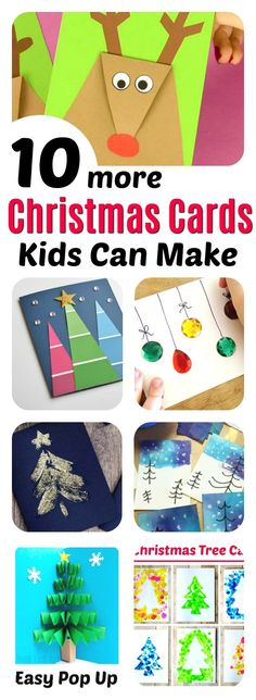 Christmas Cards Kids Can Make 10 More Ideas is part of Kids Crafts Cards Grandparents - 10 gorgeous Christmas Cards kids can make in an afternoon! A fun Christmas crafting activity holiday cards for teachers, coaches, granparents and friends! Christmas Cards Handmade Kids, Simple Christmas Cards, Christmas Card Crafts, Childrens Christmas, Christmas Activities, Holiday Crafts, Christmas Post, Teacher Christmas Card, Handmade Cards