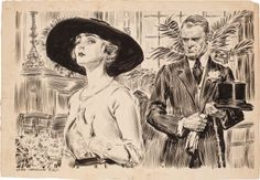 JAMES MONTGOMERY FLAGG (American, 1877-1960)  The Profiteers, Cosmopolitan magazine story illustration, January 1921  Ink on board  20 x 29 in.  Signed lower left