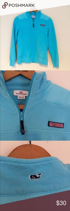 Vineyard vines quarter zip Vineyard vines Size xs Bright blue quarter zip sweatshirt. Super cute , with logo on side and the cutest whale on neck behind.  Perfect condition Vineyard Vines Tops Sweatshirts & Hoodies