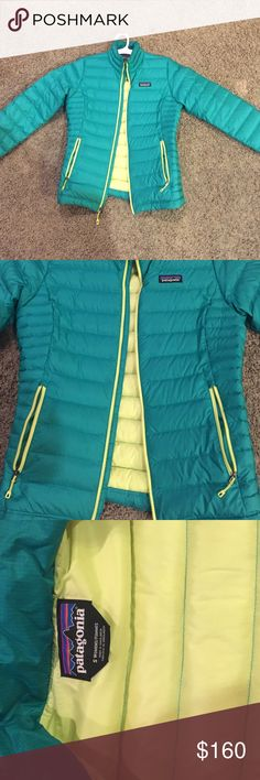 NEW Patagonia women's jacket Patagonia down jacket. Never been worn. Greenish teal color with neon yellow interior. Very warm. Patagonia Jackets & Coats