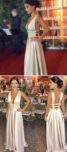 Simple Long Prom Dress, Elegant A-line Prom Dress, 2019 Ivory Prom Dress  by MeetBeauty, $128.90 USD