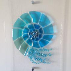 Fused Glass Nautilus/Ammonite by SapphireFusedGlass on Etsy