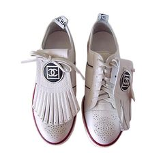 CHANEL shoe Leather SNEAKER 8 NEW GR8 Detail at 1stdibs