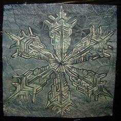 """Bright snowflake"" :) 20 x 20 cm (7,87 x 7.87 inch) Napkin in the winter style... Painting on fabric. Paulina Szczepaniak, 2015  #bright   #snowflake   #snow   #painting  #fabric"