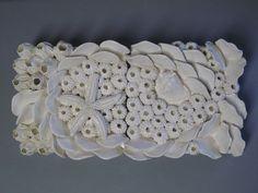 Küsten Keramik Isle of Palms Art Fliesen, Korallenriff zwei Stück Ozean Wandskulptur, Keramik Unikate, Wandbehang, Muschel, Schale Art, Wand Kunst