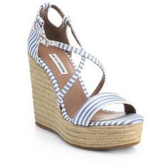Tabitha Simmons Jenny Striped Espadrille Wedge Sandals (720 BRL) ❤ liked on Polyvore featuring shoes, sandals, wedges, apparel & accessories, bluebird, mid heel wedge sandals, wedge espadrilles, wedges shoes, espadrille sandals and wedge sandals