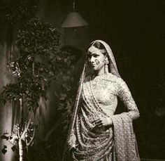 In colour or B&W, a bride's portrait in her wedding lehenga by Sabyasachi always makes for a beautiful picture