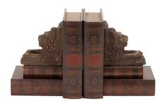 Woodland Imports Wood and Leather Lion Book End Set of 2 фото