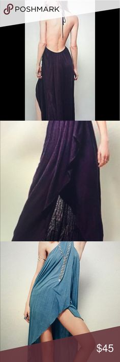 """NWOT Free People Sz XS Purple Eternal Maxi NWOT Free People Beach """"Eternal Maxi"""". Low open back. Ties in back of neck, criss cross front. Overlaps in front. Sz XS. Burnt like material. Asymmetrical, shorter in front, gradually gets longer on back. This is for all my tall girls out there, measured from back at longest length 44"""". Loose fitting. Great with shorts underneath. Wear to beach as coverup, farmers market, festivals...possibilities are endless. Comes with original packing bag…"""