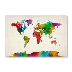 Watercolor World Map II by Michael Tompsett - 16 x 24 in. | Find it at the Foundary