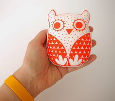 Screen Printed Mini Scandinavian Geometri Fabric Toy Owl Push Softie by Jane Foster Jane Foster, Fabric Stamping, Softies, Plushies, Fabric Toys, Kids Pillows, Little Birds, Baby Prints, Handmade Toys