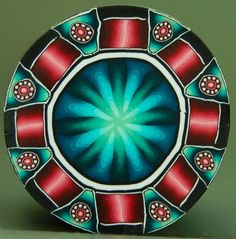 Red and Teal Polymer Clay Circle Cane 'Nostalgia' por ikandiclay