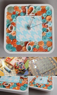Button clock | DIY Stuff   I want this for my sewing room!