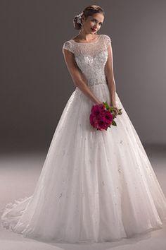 2015 Bateau Robe de mariée A ligne Tulle perlé corsage avec jupe d'organza