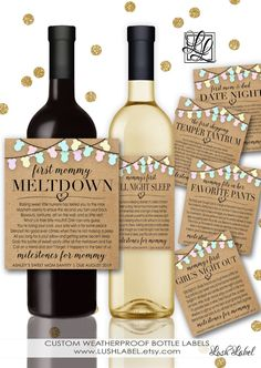 Baby Shower New Mom Gift Milestones for Mommy Wine by LushLabel
