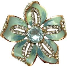 CORO CRAFT Sterling Blue Enamel Pave and Faux Blue Topaz Opening Flower Brooch
