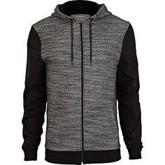 Black marl contrast sleeve hoodie - hoodies - hoodies / sweatshirts - men (£28.00) - Svpply