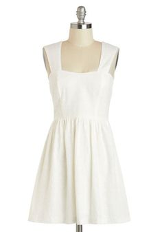 We Shall Daisy Dress - Solid, Eyelet, Casual, A-line, Sweetheart, Short, White, Daytime Party, Sleeveless, Cotton, Spring, Pinup