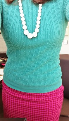 Green cableknit, pink and red houndstooth, and my thrifted $1 necklace #ootd #whatIwore - YesAndNazzy (at the office)