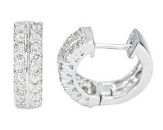 Classic 2 Row Shared-Prong Diamond Hoop Earring  18K White Gold 0.54 ct. tw.