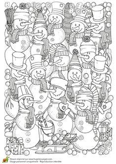 Dessin à colorier pour un hiver zen, mur de bonhommes de neige - Hugolescargot.com