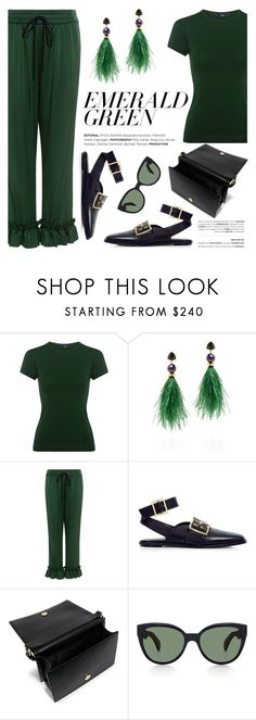 """""""Emerald City: Pops of Green"""" by ifchic ❤ liked on Polyvore featuring A.L.C., Lizzie Fortunato, Mother of Pearl, TIBI, Boutique Moschino, Oliver Peoples, contestentry, emeraldgreen and ifchic"""