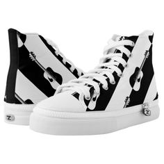 Shop Modern designer black and white guitar sneakers created by giftsbonanza. High Top Chucks, High Top Sneakers, White High Tops, Black And White, Guitar Gifts, Dog Pattern, Shoe Art, Custom Sneakers, Top Shoes