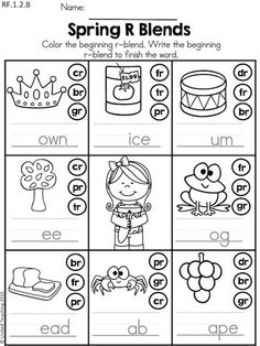 Spring R Blends >> Dot or color the r matching r blend and write the complete the word >> Part of the Spring 1st Grade Literacy Worksheets packet.