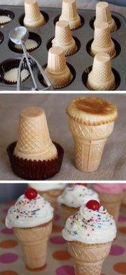 How fun are these?! I mean, cupcakes are cool, but ice cream cone cupcakes are AWESOME! I've seen this done before, but stumbled across a site with some great tips and pointers on how to get them t...