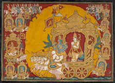 Pārthasārathi Śri Kṛṣṇa and prince Arjuna on the battlefield of Kurukṣetra Mysore, first half of the 19th C. Opaque pigments on board Francesca Galloway Collection