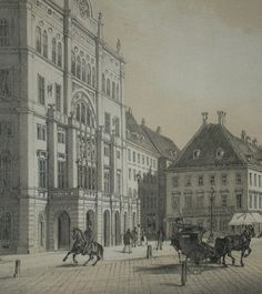 Carltheater at Praterstrasse 31 around 1850 Vienna, Hungary, Austria, Louvre, History, Architecture, Building, Vintage, Painting