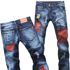 Drop shipping Slim jeans. Patch patch. Small holes in the waist embroidered edging straight leg.