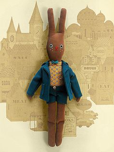 bunny Doll give him shorter ears and a big bushy tail and he'd look like tufty the squirrel from the vintage advert for road safety , i was a member of the tufty club does that make me really old , anyway I'll try that idea and make my own tufty plushie and relive sweet memories together