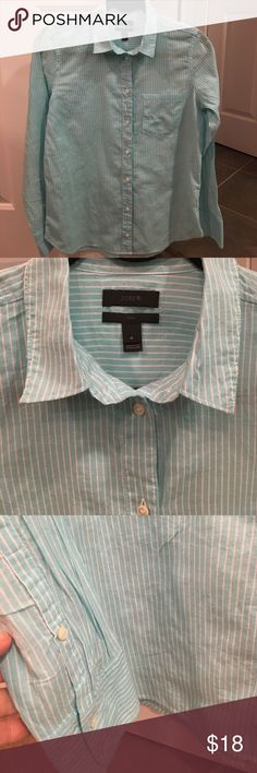 "J.Crew striped shirt J.Crew light turquoise blue and white striped ""boy"" shirt for women size 4 in excellent condition. Worn once. Cotton. 27"" length and 19"" chest J. Crew Tops Button Down Shirts"