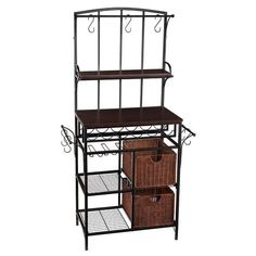 4-Tier Black Metal Bakers Rack Shelf Unit w/Baskets & Wine Rack