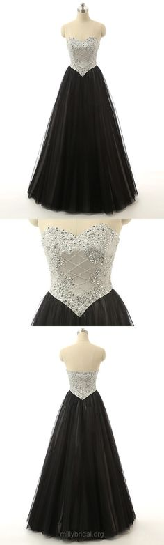 Black Prom Dresses Ball Gown, Sweetheart Party Dresses Long, Tulle Beading Formal Evening Dresses Modest