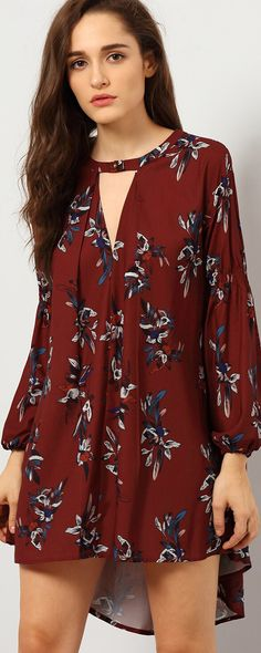 Love Love Love this Dress SO MUCH! Gorgeous Wine Red Floral Print! Flowers Print Burgundy Floral Keyhole Neckline Long Sleeve Dress, 100% Quality Guarantee!