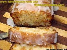 Lemon-White Chocolate Pound Cake With A Lemon Honey Glaze Lemon Recipes, Cake Recipes, Dessert Recipes, Yummy Treats, Delicious Desserts, Lemon Icebox Cake, Cupcake Cakes, Cupcakes, Chocolate Pound Cake