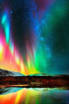 Aurora of many colors. Aurora Borealis, Beautiful Sky, Beautiful Landscapes, Northen Lights, Photos Voyages, Nature Wallpaper, Nature Pictures, Amazing Nature, Night Skies