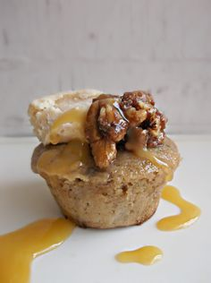Lick The Spoon: Banana Muffins with Cinnamon Walnuts and Brown Butter Icing