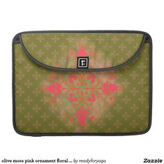 olive moss pink ornament floral background MacBook pro sleeves