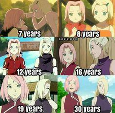 Sakura & Ino through the years Anime Naruto, Naruto Shippuden Anime, Naruto Girls, Naruto Art, Manga Anime, Naruto Sasuke Sakura, Sailor Moon, Naruto Wallpaper, Naruto Characters