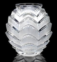 René Lalique  'Soustons' a Rare Vase, design 1935  frosted and polished glass, heightened with blue staining  22.8cm high, etched 'R. Lalique'