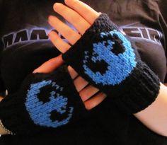 Rebel Alliance knit fingerless gloves blue Star Wars fan art ready to ship