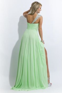 One Shoulder Beaded&Ruffled Prom Dresses A Line Brush Train Chiffon Sage