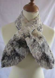 black and white vintage fur scarf