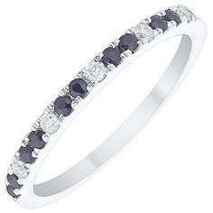 An elegant 9ct white gold band set with sparkling sapphires and dazzling diamonds. Create an on-trend look with beautiful stacking rings.