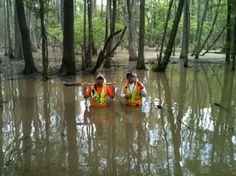 Surveying Buddies Get Wet