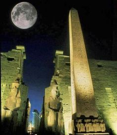 size: Photographic Print: Moonrise over Luxor Complex in Luxor, Egypt by Richard Nowitz : Subjects Ancient Egypt, Ancient History, Beautiful World, Beautiful Places, Beautiful Moon, Places Around The World, Around The Worlds, Luxor Temple, Night Photography