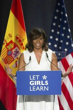 AP81686835 Michelle Obama and Queen Letizia of Spain Attend 'Lets Girls Learn' In Madrid 1/7/2016